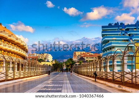 Street in Playa de las Americas on Tenerife at sunrise, Canary Islands in Spain. #1040367466