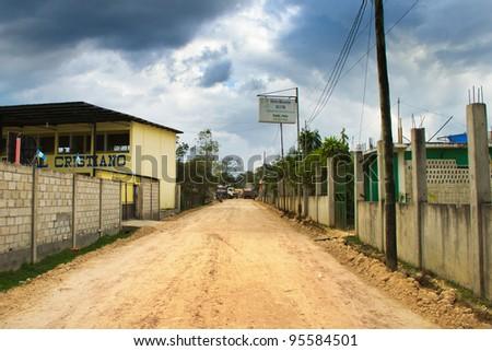 Street in Poptun, Guatemala - stock photo