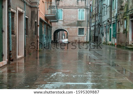 Street in the ancient city of Chioggia flooded