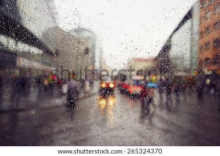 Street in the heavy rain - Prague, Czech Republic