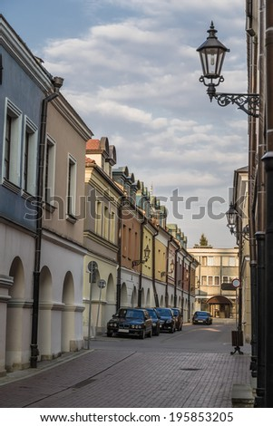 Street in the historic district. Zamosc. Poland