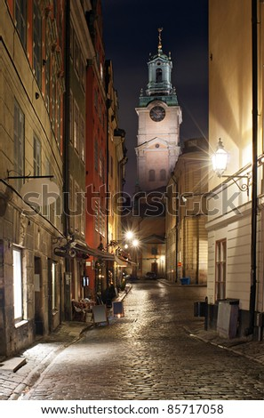 Street in the historical part of Stockholm city, at the Gamlastan island.