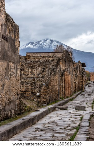 Street in the Ruins of Ancient Pompeii Italy