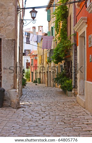 street in the small town Rovin, Croatia