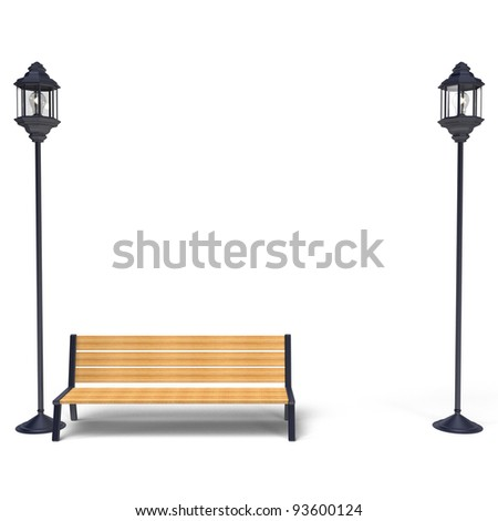 Street lamp And Bench Front View