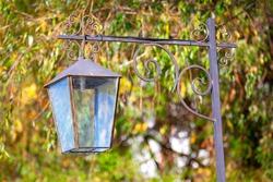 Street Lamp in the Autumn . Lamp Post in the Fall Season
