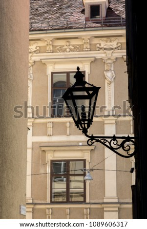 street lamp in the city of graz, styria,austria