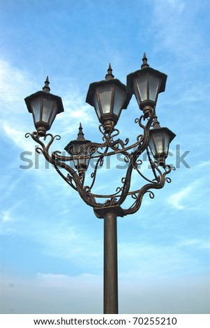 Street lamp on a blue sky background