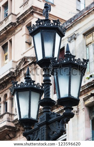 street lamp on the building background