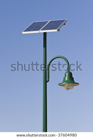 Street lamp poles powered by solar energy in Redcliffe, Queensland, Australia - stock photo