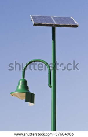 Street lamp poles powered by solar energy in Redcliffe, Queensland, Australia
