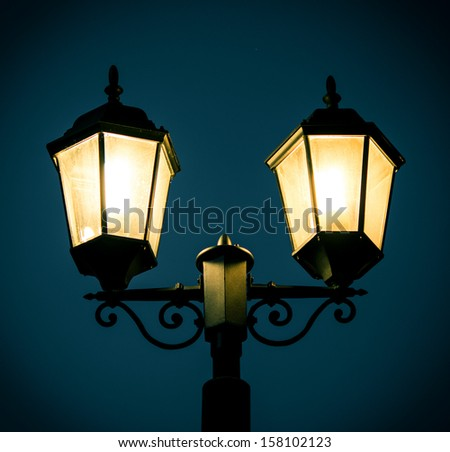 street lamp post at night time stock photo 158102123