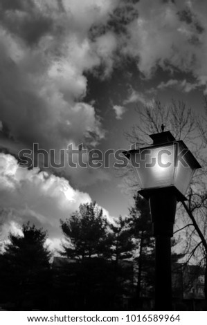 Street Lamp With Clouds #1016589964