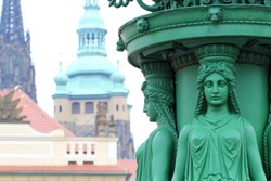 street lamp with female statue