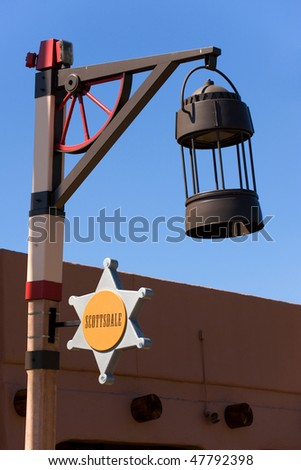 Street lamp with sign in Old Town of Scottsdale, Arizona