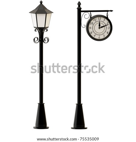 Street lamppost and c�locks isolated on white background.