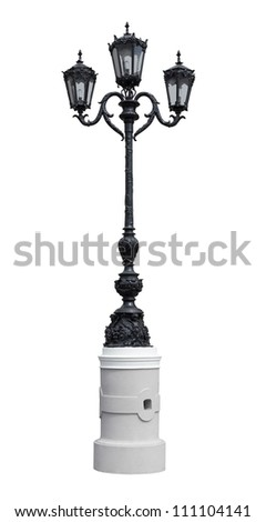 Street lamppost isolated on white background.