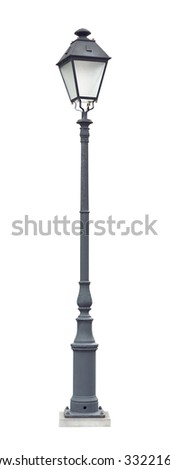 Street lamppost with one lamp gray isolated on white background