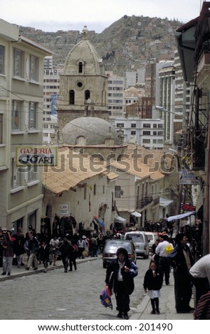 Street leading to cathedral in La Paz, Bolivia