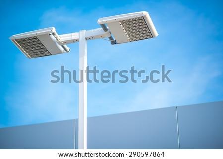 Street LED Lighting Technology. Light Pole Closeup.