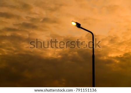 Street LED. Lighting Technology, on background sky overcast, #791151136