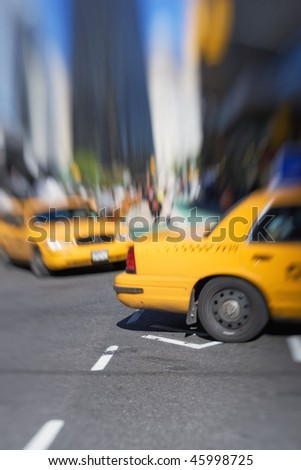 Street life in New York City - everyday life. MOTION AND LENS BLURRED
