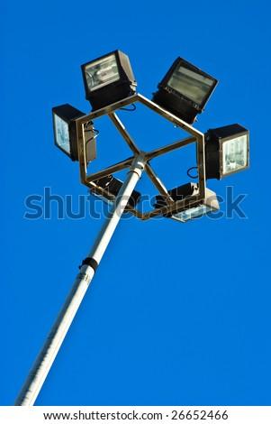 street light against blue sky