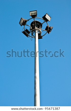 street light against blue sky