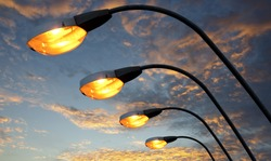 Street light against twilight background