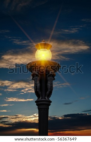 street light and sunset
