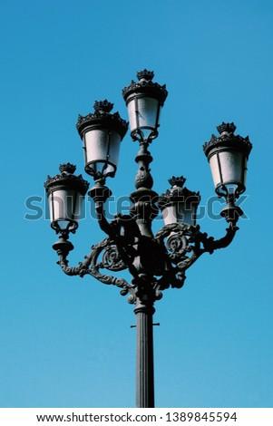 street light in the street in Bilbao city Spain