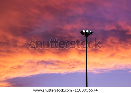 Street light isolated with amazing sky background. #1103956574