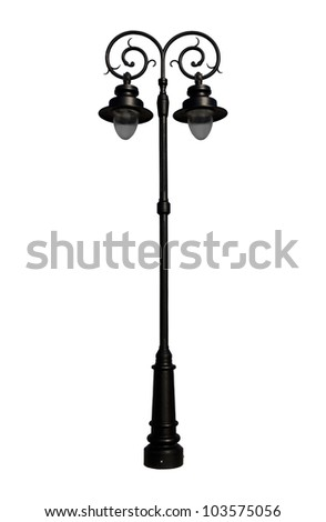 Street light lamp  isolated on white background.