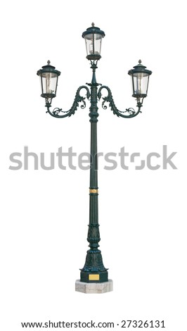 Street light lamp post isolated on white background with clipping path
