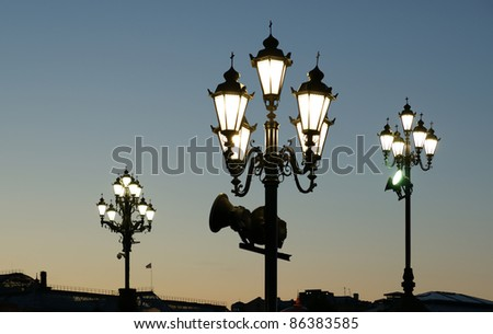 Street light near the Christ the Savior Cathedral, Moscow, Russia