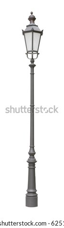 Street light of one bulb isolated on white background