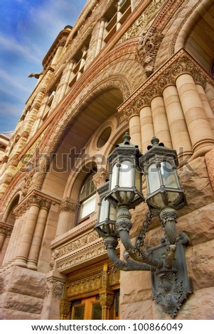 Street light on Old City Hall. Downtown Torornto.