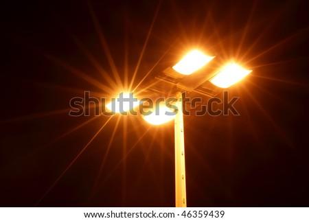 Street light showing rays of light extending outward