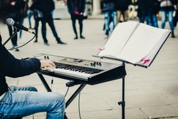 street musician giving a performance