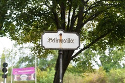 street name sign of the Bellevueallee in Berlin, Germany
