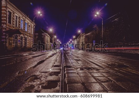 street-night the tram rails