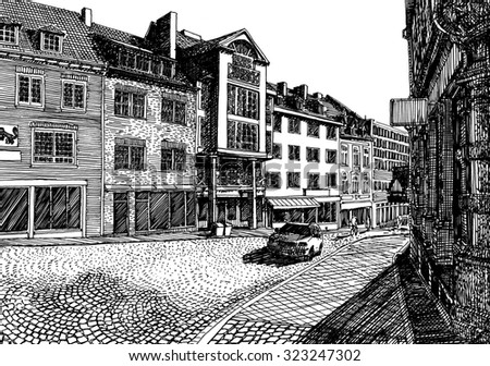 Street of an old European city. Black and white dashed style sketch, line art, drawing with pen and ink. Retro vintage picture.