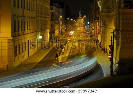 street of Brno at night