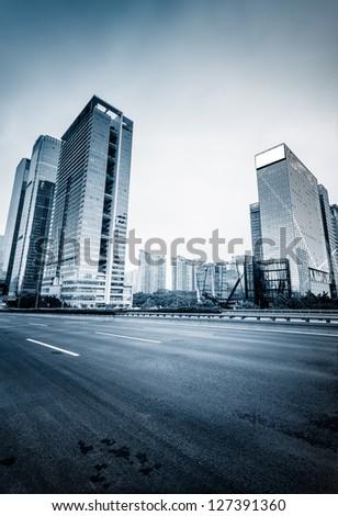 street of city at shenzheng china. blue toned image.