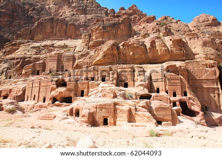 Street of Facades, riddling the walls of the Outer Siq are over 40 tombs and houses built by the Nabataeans. Ancient city of Petra, Jordan. It is now an UNESCO World Heritage Site. Petra, Jordan