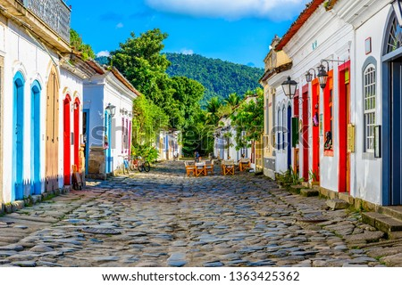 Street of historical center in Paraty, Rio de Janeiro, Brazil. Paraty is a preserved Portuguese colonial and Brazilian Imperial municipality #1363425362