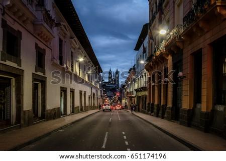 Shutterstock Street of Quito and Basilica del Voto Nacional at night - Quito, Ecuador