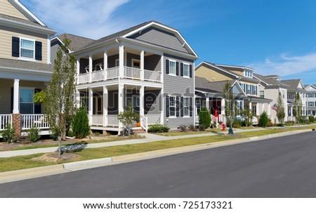 Street of suburban homes #725173321