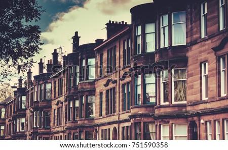 Street of Tenement Apartments Glasgow, Scotland