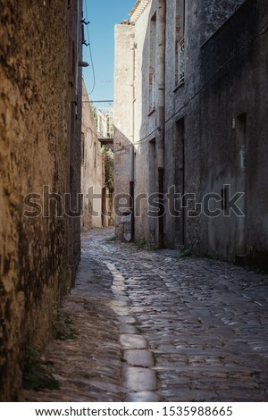 Street of the ancient city of Erice. Sicily, Italy